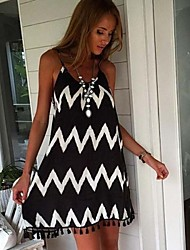 Women's Holiday Striped Dress Above Knee Others