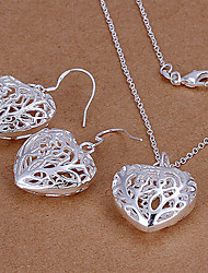 Lucky Doll Women's 925 Silver Plated Cut Out Heart Necklace & Earrings Jewelry Sets
