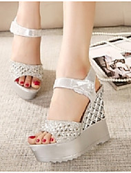Women's Shoes Wedge Heel Wedges/Peep Toe Sandals Casual Silver/Gold