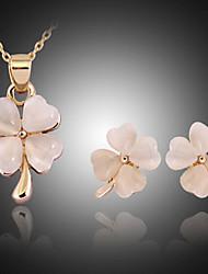 Feminino Conjunto de Jóias Moda bijuterias Opala Formato de Cruz Trevo de Quatro Folhas Brincos Colar Para Festa Ocasião Especial
