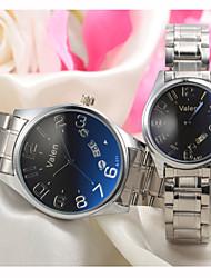 vestido de la pareja ver reloj de pulsera de acero inoxidable de cuarzo calendario japonés