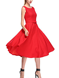 Women's Vintage Hepburn Lace Hook flower Party Dress (Polyeste/Lace)