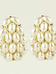 Earring Stud Earrings Jewelry Women Alloy / Imitation Pearl / Rhinestone 2pcs Gold / White