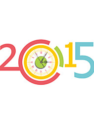 Morden 3D Effect Colorful 2015 Wall Clock 33.46*15.75 inch / 85*40cm