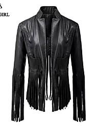 LIVAGIRL®Women's Jacket Fashion Cool Tassels Long Sleeve PU Leather Jacket Europe Style Locomotive Girl Top Coat
