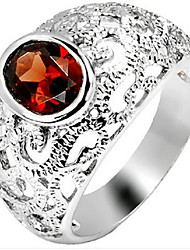 Volcano Silver Ornament Natural Garnet Crystal Gem Ring SR0322G