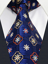 U18 Shlax&Wing Geometric Navy Ties Floral Necktie Dark Blue Fashion Classic Silk