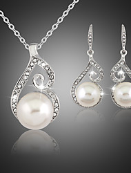 Women Vintage/Party/Work/Casual Alloy/Cubic Zirconia/Imitation Pearl Necklace/Earrings Sets