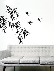 stickers muraux de style de décalques de mur mur de bambou feuille de PVC autocollants