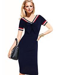 Robes ( Coton/Polyester ) Informel/Soirée/Travail Col V à Manches courtes pour Femme