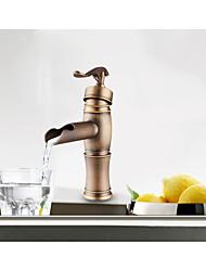 Centerset Antique Copper Finish Single Handle Brass Bathroom Sink Faucet