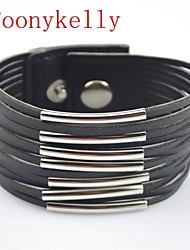 Toonykelly® Fashionable Black Leather jewelry Silver Button Bracelet(1PC)