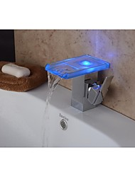 Contemporary Chrome Color Changing LED Bathroom Sink Faucet