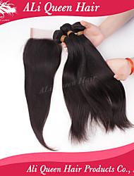 Ali Queen Hair Products 3Pcs 6A Malaysian Virgin Hair Straight Wifh 1Pcs 4*4 Swiss Lace Closures 100% human hair