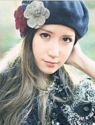 Women Cute Three Flower Berets Wool Blend Hat