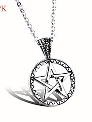 OPK®High Quality Stainless Steel Hollow Out Pentagram Necklace Men