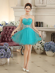 Women's A-Line Crystal Decorated Strapless Above Knee Cocktail Party Bridesmaid Mini Dress