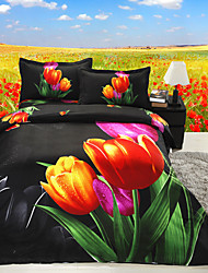 Black/Green/Red Polyester/Poly/Cotton King Duvet Cover Sets