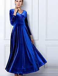 Women's Party/Cocktail Plus Size Plus Size Dress,Solid V Neck Maxi Long Sleeve Blue / Red / Black / Green / Purple Fall