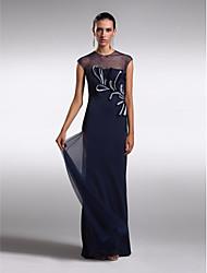 ts couture® vestido de noche formal - ver a través de talla grande / vaina / columna pequeña joya piso de longitud de tul con aplicaciones