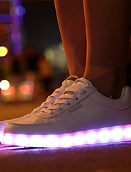 MasculinoLight Up Shoes-Rasteiro-Branco-Courino-Para Esporte