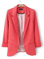 Mulheres Blazer Outono,Sólido Azul / Vermelho / Branco / Preto / Laranja Algodão Colarinho de Camisa Manga Longa Fina