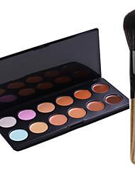 New 12Colors Salon Contour Face Cream Makeup Concealer Palette+Blush Brush