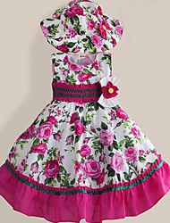 Girls Dress + Hat Pink Flower Print Party Pageant Princess Fashion Baby Children Clothing Dresses (Cotton)