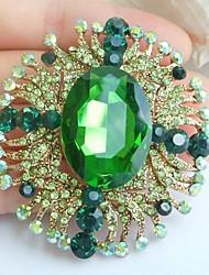 2.36 Inch Gold-tone Green Rhinestone Crystal Flower Brooch Pendant Art Decorations