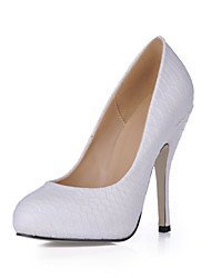 Women's Heels Spring Fall Comfort Light Up Shoes PU Wedding Dress Party & Evening Stiletto Heel White