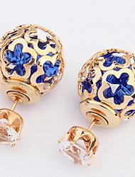Women's Fine Fashion Hollow-out Flower Pattern Stud Earrings With Rhinestone
