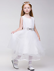 Flower Girl Dress Knee-length Tulle/Polyester Sleeveless Dress