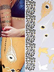 3PCS Colorful Tattoos+1PC Gold Tattoo Flash Tattoo Metallic Tattoo Flash Tatouage Temporary Tattoo Sticker Metal Tatoos