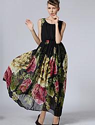 Women's Sexy Beach Print Cute Maxi Plus Sizes Inelastic Sleeveless   Dress (Chiffon)