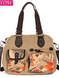 Fashion Women's Canvas Casual Shoulder Bag Retro Rucksack Messenger Bag Chinese Ink Painting Handbag