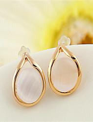 Korean Opal Drop Water Stud Earrings Cute Gold Plated/Gemstone & Crystal Stud Earrings