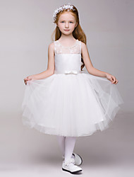 Flower Girl Dress Knee-length A-line Sleeveless Dress