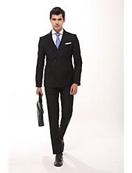 Costumes ( Noir/Bleu foncé , Polyester/Viscose , 2 Pièces ) Coupe Cintrée
