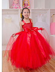 Performance Dresses Children's Performance Polyester Pleated 1 Piece Black / Red / Yellow Performance Sleeveless Princess Dress
