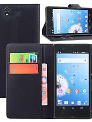 litchi autour parenthèse ouverte téléphone en cuir carte de portefeuille approprié pour sony xperia z / l36h (de couleurs assorties)