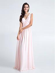 LAN TING BRIDE Floor-length Chiffon Bridesmaid Dress - Sheath / Column V-neck Plus Size / Petite with Criss Cross