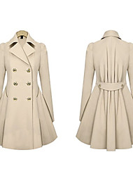 Women's Tailored Collar Button Coats & Jackets , Twill Vintage Long Sleeve Morefeel