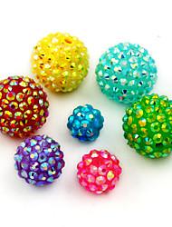 beadia 40pcs weise Rhinestone-Perlen 14mm Runde 15 Farben kann sein wählen bling Harzkugel klobigen Harzes DIY lose Perlen