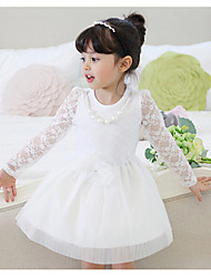 Girls' Dresses Lace Long Sleeve Round Collar Flower Lace Princess Dresses (Cotton)