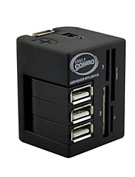 USB COMBO 3 Port Usb Hub 2.0 HUB+Multi USB Card Reader All In One For SD/MMC/M2/MS/MP Pro Duo