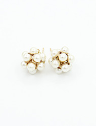 Earring Stud Earrings Jewelry Women Imitation Pearl / Rhinestone / Gold Plated 2pcs Gold / White