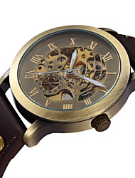 Men's Vintage Skeleton Bronzen Dial Leather Band Automatic Self Wind Wrist Watch