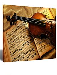 VISUAL STAR® A World of Music - Violin Musical Instrument Canvas Wall Art Ready to Hang