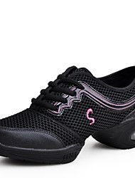 Non Customizable Women's Dance Shoes Fabric Fabric Dance Sneakers Split Sole Chunky Heel Practice Black / Blue / Red