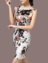 Women's Vintage Plus Sizes Micro Elastic Sleeveless Knee Length Dress (Satin)